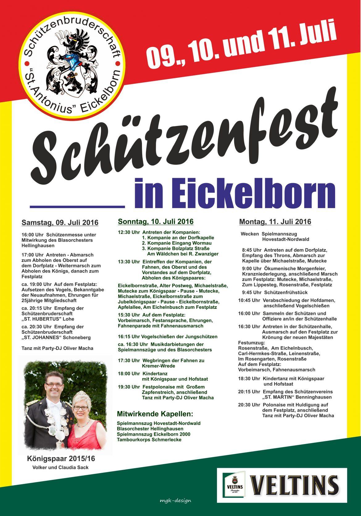Festprogramm Schützenfest Eickelborn 2016
